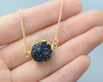 Druzy Necklace - Druzy pendant necklace - black druzy necklace - round druzzy necklace - gold plated druzy necklace - gold necklace