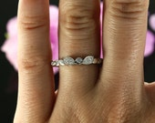 14k White Gold Diamond Wedding Band, Bezel and Prong Set Ladies Wedding Ring, Matching band (avail. in rose gold, yellow gold and platinum)