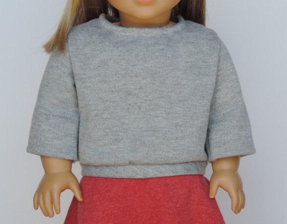 Light Grey Sweatshirt - 18 Inch Doll Clothes // Clothing