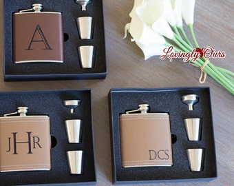 Mens Personalized Flask - Leather Hip Flask Gift Set  -  Engraved with Name, Monogram or Initials Birthday Gift