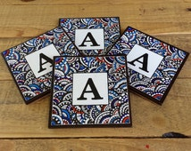 Monogrammed Drink Coasters, Set of Four, Original Zentangle Design with Cork Back..........Free US Shipping