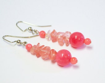 FREE SHIPPING, Coral pink earrings,coral earrings,pink coral earrings Pink earrings,Pink drop earrings,Pink dangle earrings,coral earrings,