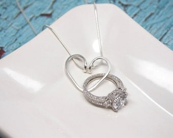 heart ring holder necklace wire wrapped wedding engagement ring holder pendant argentium sterling silver - Wedding Ring Necklace Holder