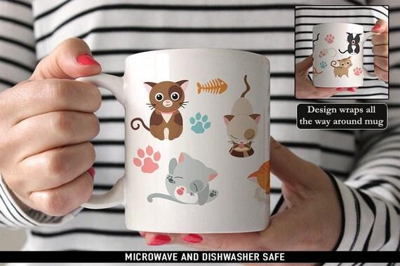 Coffee Mug Cute Kitty Cat Coffee Mug - Funny Mug - Cat Mug