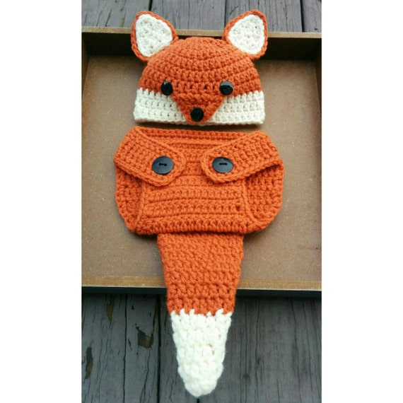 Newborn Crochet Fox Outfit PATTERN (0-3 Months) Diaper Cover and Hat