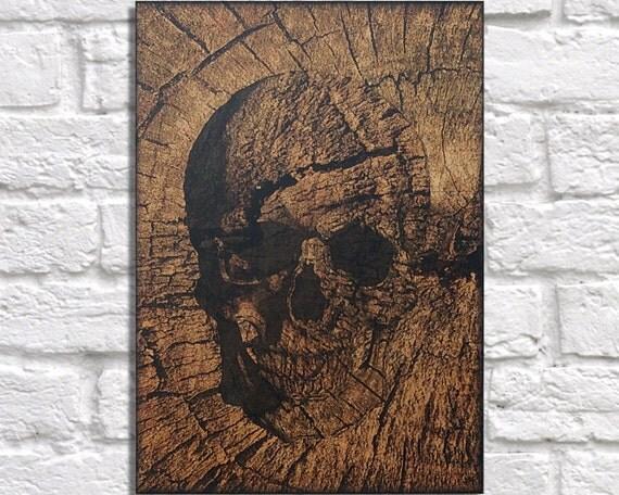 Wood art skull wood wall art decor skull wood print by for Tree trunk wall art