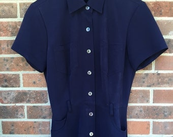 vintage Robbie Bee navy knee-length button-front dress