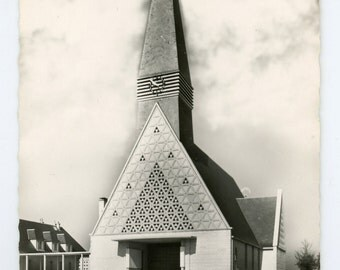 Church in Noyers- original 1950s vintage real photo postcard- RPPC- editions gaby- Noyers church- Calvados France