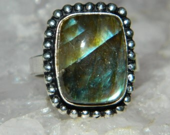 Labradorite Crystal Gemstone Metaphysical Reiki Infused Chakra Healing .925 Sterling Silver Ring Size 8