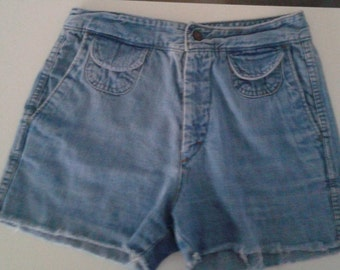 SALE /// Vintage 1970's Landlubber High Waisted Denim Cut Offs Short Shorts