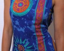 80s mandala print maxi dress tribal tie dye cobalt blue orange new age hippie grunge full length colorful bright sun gold symbol M L
