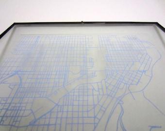 Milwaukee Street Grid Map - Sky Blue on Clear Acrylic