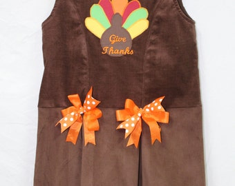 Sale Thanksgiving dress, Girls thanksgiving dress, Turkey dress,Girls jumper, toddler jumper,  Brown Corduroy Jumper with Turkey Applique