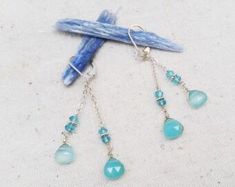 Blue Topaz & Sea Blue Chalcedony Earrings
