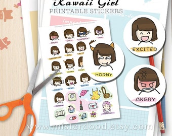 KAWAII GIRL, Daily Life Day-to-day Lifestyle, Printable Sticker, Cute Mini Clipart, Paste on Diary Planner Journal Notebook, Girly Doodle