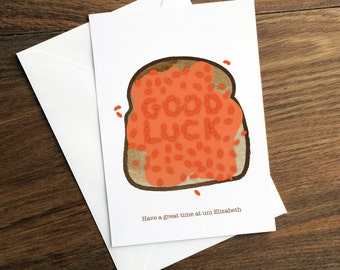 Good Luck at University / College Card - Custom / Personalised Funny Baked Beans Student Name Card