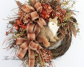 Foxy Autumn Wreath, Country Fall Wreath, Front Door Wreath, Fall Door Decor, Adorable Country Fox, Wreaths for Fall, Country Decor, Rustic