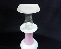 Plant stand; pink and white; glass stand