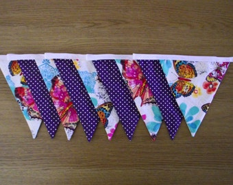Butterfly and Purple Polka Dot Lined Fabric Bunting