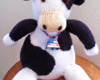 Holstein Cow Stuffed Toy/Hand Knit