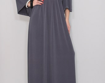 Long Gray dress maxi dress Kimono dress Women
