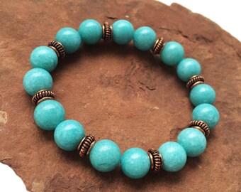 Blue Jade and Antique Copper Bead Stretch Bracelet
