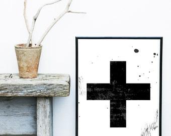 Printable Art, Swiss Cross, Black Cross, Scandinavian Art, Minimalist Poster, Wall Decor, Wall Art, Large Wall Print