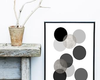 Scandinavian Art, Circles Print, Printable Art, Monochrome Print,  Abstract Art Print,  Wall Decor, Wall Art, Instant Download, Home Decor