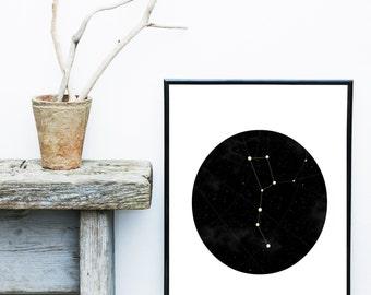 Constellation Print, Night Sky,  Printable Art, Instant download, Constellation Wall Art,  Stars Print,  Wall Decor, Wall Art, Poster