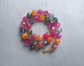 Colorful Vibrant Polyhedron Beaded Choker Necklace