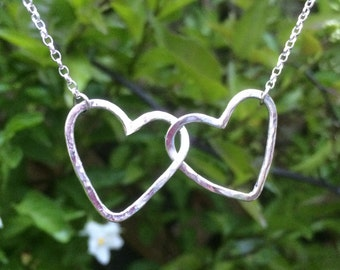 Silver Hearts Necklace | interlocking | entwined | handmade | gift | for her | wedding | bridal | valentines | mothers