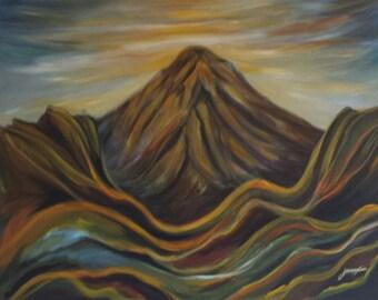 Original Painting of a quiet volcano