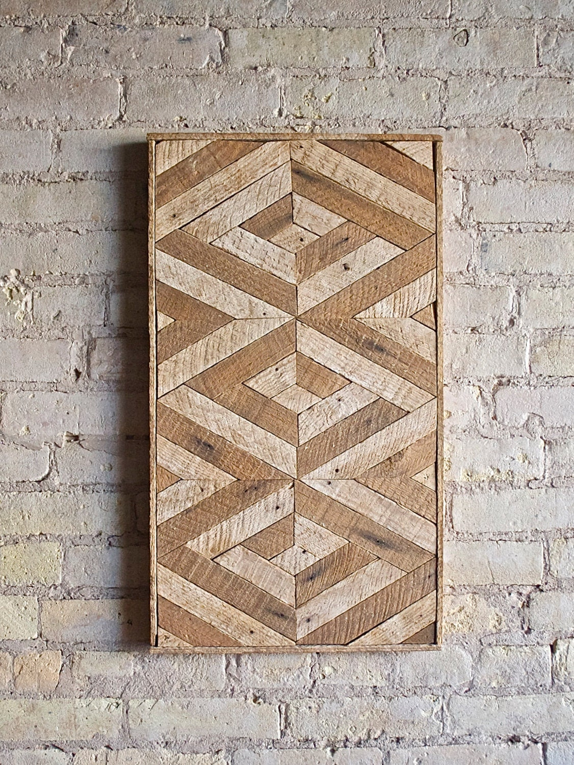 Reclaimed Wood Wall Art Lath DecorPattern 3D Geometric
