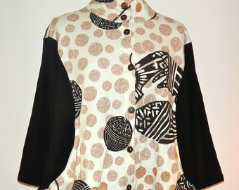 Asian Lantern Print Jacket / Button Down Blouse with Flare - SP14-5053