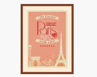 Paris cross stitch, France cross stitch, Eiffel tower, Je t'aime, Love Paris, Counted cross stitch, Cross stitch sayings, Instant download
