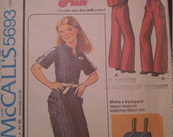 McCall's 5693 Girls Sz 7 Sew for Fun Jumpsuit and Backpack Uncut
