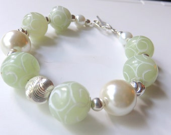 Carved Jade Bracelet, Mint Green Gemstones, Boho Bracelet with Toggle Clasp, White Pearls, Chunky Beaded Jewelry, Sterling Silver, Gift Idea