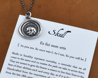 "Skull Necklace - A Memento Mori from latin antique wax seal - 'Es fui sum eris' which translates 'So as you are so once was I"" - 247"