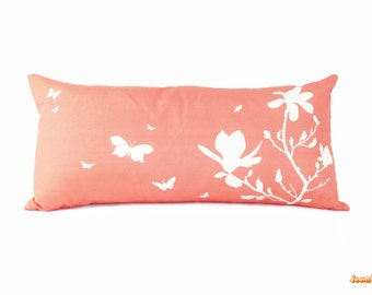 Coral Pink Magnolia Rectangle Pillow