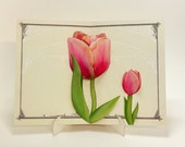 Tulips Pop Up Card - unique flower gift for any birthday, thank you, anniversary or wedding shower. Includes stand for decoration.