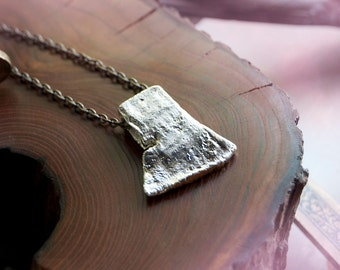 Axe of Perun - Silver Metal Axe Necklace - Slavic Hatchet Amulet / Viking Axe Pendant Necklace / Cast Axe Plated in Silver / Woodland Axe