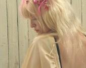 1950s Hat // Bridal Veil // Floral Fascinator // Flower Headpiece // Bride Hat // Vintage Headband // 50s Wedding // Hippie Boho Bohemian