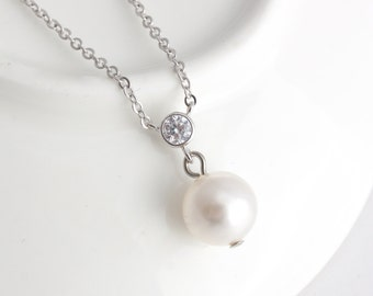 Simple Pearl Wedding Necklace Pearl Bridal Chain Classic Wedding Jewelry  White Pearl Ivory Pearl Powder Almond Champagne Pearl PEARLA