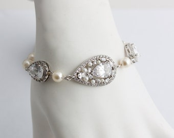 Crystal Teardrop Bridal Bracelet Rhodium Wedding Bracelet Cubic Zirconia Crystal Pearl Wedding Jewelry VIVIENNE