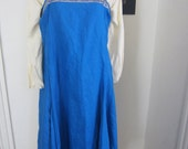 Royal Blue Linen Viking Norse Apron Dress 44-46 inch Bust SCA Ready to Ship