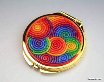 Compact Mirror in Rainbow Polymer Clay Filigree (Gold Plated)