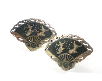 Sterling Silver Cufflinks Black Siam Niello Fan Cuff Links Vintage Accessories Unisex