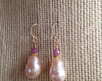 Genuine Ruby Earrings Gemstones Blush Baroque Pearl Earrings Freshwater Cultured Pearls Pastel Pale Pink Earrings
