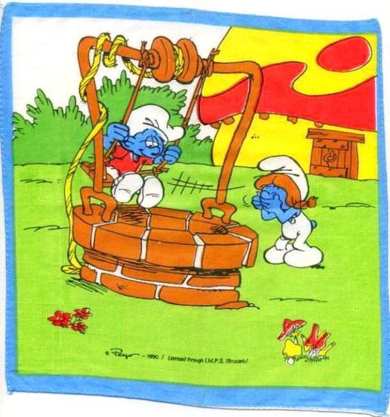 Vintage -1990 - SMURFS at the WELLWATER , SCHTROUMPFS- Die Schlümpfe- Children Handkerchief - printed fabric - signed Peyo - Free Shipping