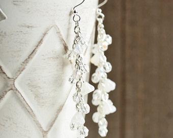 White Dangle Earrings - Clear and White Earrings with Silver Plated Hooks, White Beaded Earrings, Clear Cascade Earrings, Bridal Jewelry